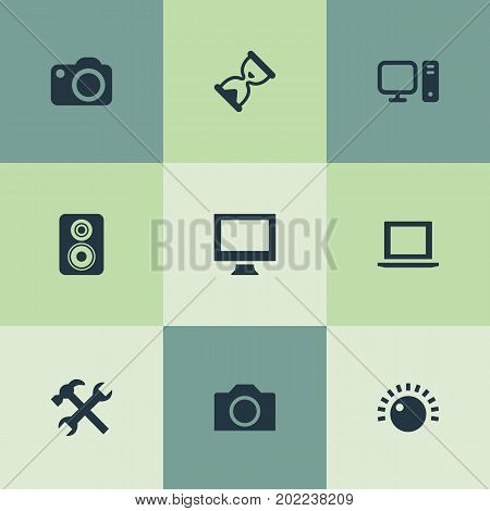 Elements Monitor, Personal Computer, Camcorder And Other Synonyms Camera, Knob And Photographing.  Vector Illustration Set Of Simple Hardware Icons.