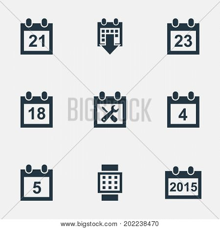 Elements Twenty-Three, Twenty-One, Day And Other Synonyms Annual, Hour And Three.  Vector Illustration Set Of Simple Plan Icons.