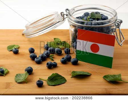 Niger Flag On A Wooden Plank With Blueberries Isolated On White