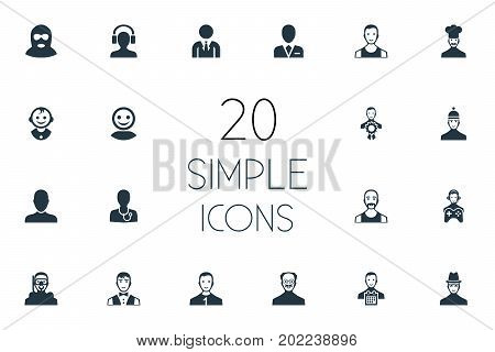 Elements Servant, Sportsman, Male With Headphone And Other Synonyms Doctor, Sportsman And Champion.  Vector Illustration Set Of Simple Avatar Icons.