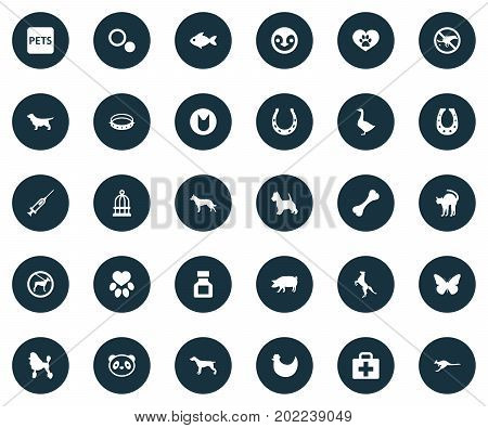 Elements Waterbird, Shepherd, Puppy And Other Synonyms Swine, Symbol And Fish.  Vector Illustration Set Of Simple Fauna Icons.