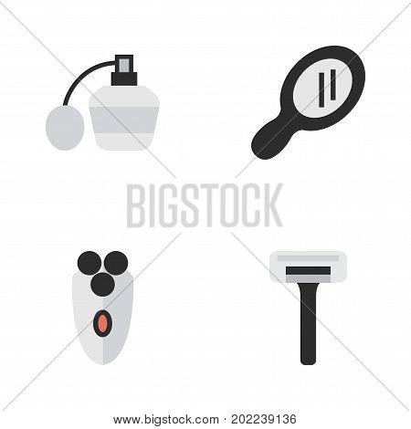 Elements Perfume, Shaving Machine, Glass And Other Synonyms Razor, Machine And Glass.  Vector Illustration Set Of Simple Barber Icons.