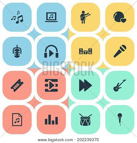 Elements Listen, Notes, Karaoke And Other Synonyms Musical, Instrument And Notes.  Vector Illustration Set Of Simple Music Icons.