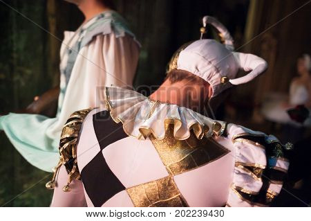 theater clothing dramatic art concept. close up of back of man wearing character costume for playing the role of the court jester it has poofy sleeves triple pleated mushroom collar and fools cap