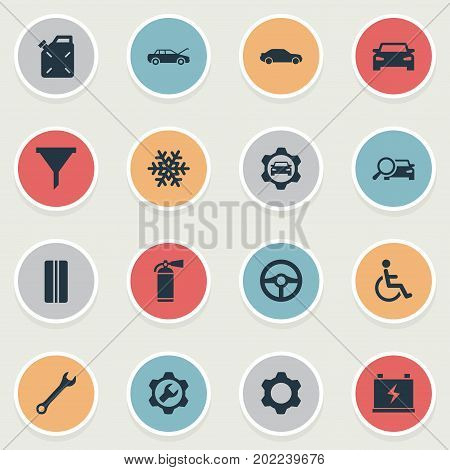 Elements Wheel, Spanner, Sprinkler And Other Synonyms Fuel, Gear And Fire.  Vector Illustration Set Of Simple Automobile Icons.