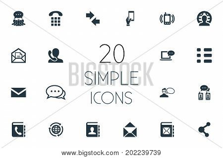 Elements Helpline, Collective Opinion, Left Right Arrows And Other Synonyms Messaging, Ringing And Speaking.  Vector Illustration Set Of Simple Connect Icons.