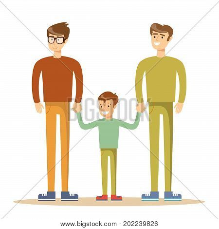 Happy gay men posing with their child. Stock flat vector illustration.