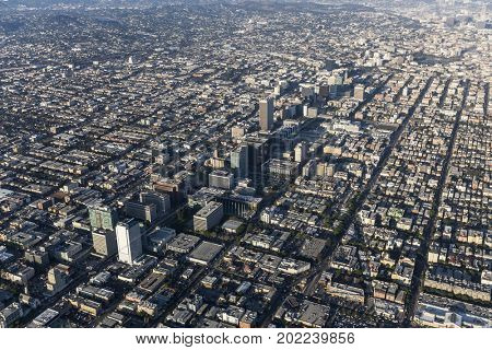 Aerial view of Wilshire Blvd and Koreatown in Los Angeles, California.