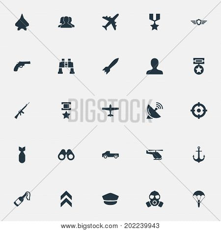 Elements Projectile, Avatar, Telescope And Other Synonyms Paratrooper, Enemy And Mask.  Vector Illustration Set Of Simple Battle Icons.