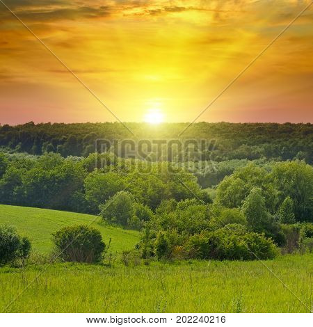 Green fields and a bright sunrise over the horizon. The hills are covered with trees and shrubs.