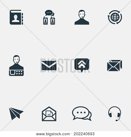 Elements Online Support, Aircraft, Chat And Other Synonyms Directory, Home And Agent.  Vector Illustration Set Of Simple Communication Icons.