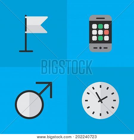 Elements Time, Banner, Mars Sign And Other Synonyms Watch, Pointer And Man.  Vector Illustration Set Of Simple Menu Icons.