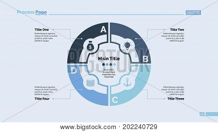 Four circle elements process chart slide template. Business data. Graphic, diagram, design. Concept for infographic, presentation. Can be used for topics like marketing, strategy, teamwork.