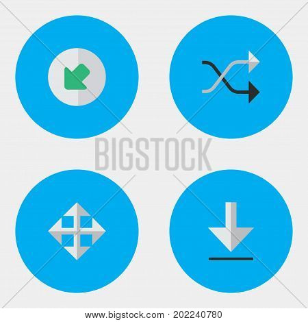 Elements Northwestward, Widen, Loading And Other Synonyms Loading, Download And Arrow.  Vector Illustration Set Of Simple Cursor Icons.