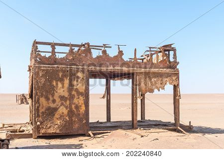 Part of the rusted remains of an abandoned oil drilling rig between Henties Bay and Torra Bay in the Skeleton Coast area of Namibia