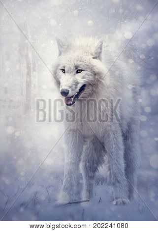 White wolf in the forest in winter