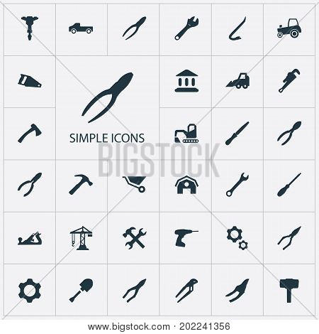 Elements Cart, Workshop, Spade And Other Synonyms Nippers, Spanner And Clamping.  Vector Illustration Set Of Simple Architecture Icons.