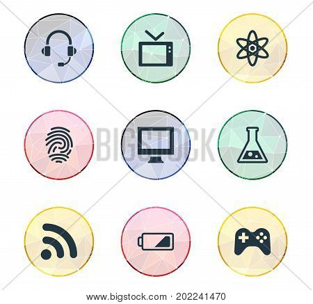 Elements Wireless Connection, Headphones, Charge And Other Synonyms Computer, Monitor And Charge.  Vector Illustration Set Of Simple Hitech Icons.