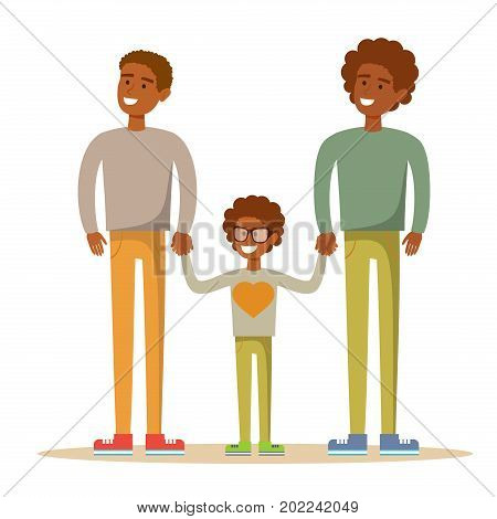 Happy Aframerican gay men posing with their child. Stock flat vector illustration.