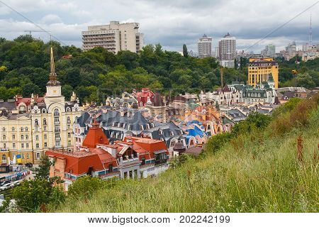 Views of buildings from the Castle hill or Zamkova Hora in Kiev. Ukraine