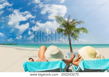 Couple on the beach at tropical resort on Phi Phi island in Thailand