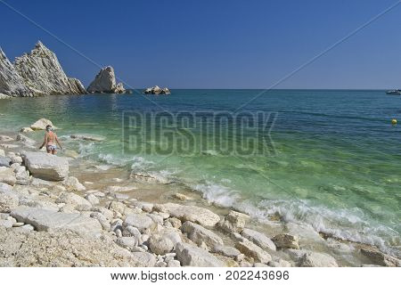 Numana - Due Sorelle bay - White coast with blue sky and sea. for summer vacation concept