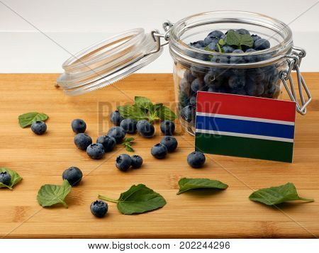 Gambia Flag On A Wooden Plank With Blueberries Isolated On White