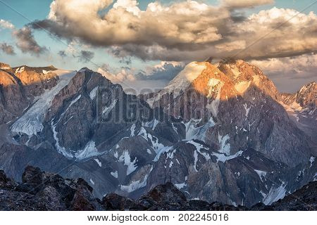 Landscape Of Fan Mountains In Tajikistan With Peaks Covered By Snow