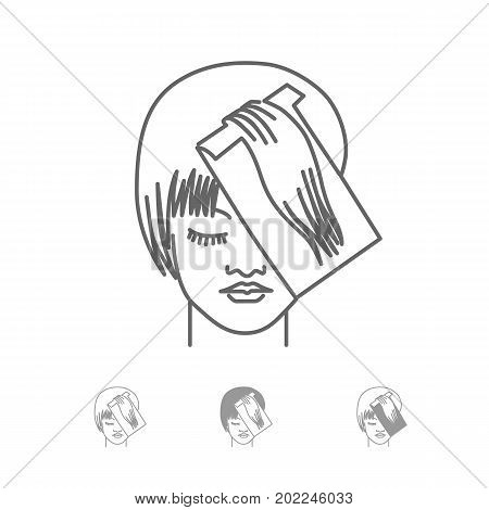 Woman face vector icons set for hair coloring, haircut, skin care, hairstyle, eye and lip makeup, beauty products, cosmetics. Beauty woman hair care coloring line icon. Line style illustration