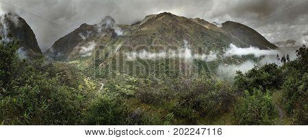 Fog and rain in the Peruvian mountains near Ollantaytambo, Peru