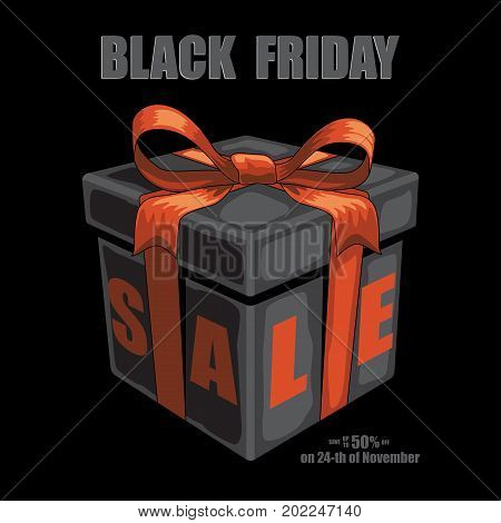Vector black friday illustration. Black gift box with red ribbon and bow and Black Friday Sale text on black background.