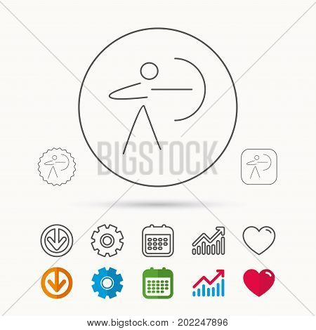 Archery sport icon. Archer with longbow sign. Aiming or targeting symbol. Calendar, Graph chart and Cogwheel signs. Download and Heart love linear web icons. Vector