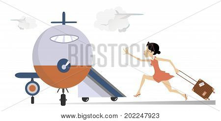 Young woman in the airport isolated. Scurrying woman with a bag trying does not miss the flight