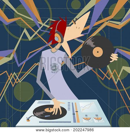 Cartoon funny DJ illustration. Smiling DJ holds records in the hand and performing electronic music