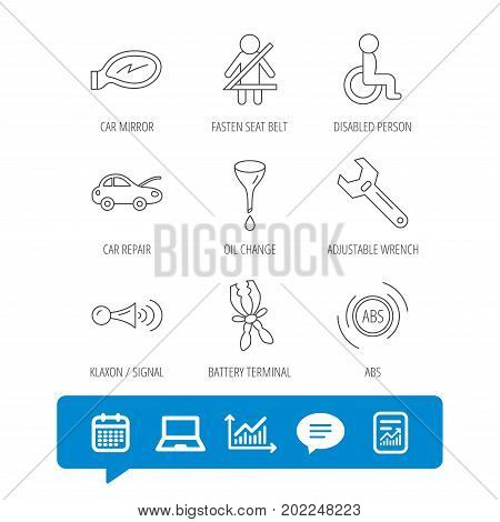 Car mirror repair, oil change and wrench tool icons. ABS, klaxon signal and fasten seat belt linear signs. Disabled person icons. Report file, Graph chart and Chat speech bubble signs. Vector