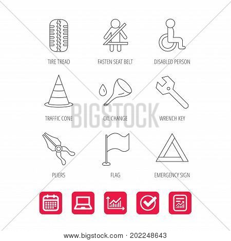 Tire tread, traffic cone and wrench key icons. Emergency triangle, flag and pliers linear signs. Disabled person icons. Report document, Graph chart and Calendar signs. Laptop and Check web icons