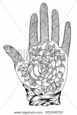 Vector hand drawn tattooed arm with a rose andweave patterns. Pattern for coloring page A4 size Indian traditional lifestyle. Ornament coloring book for adults.