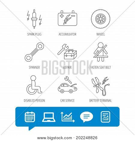 Accumulator, spanner tool and car service icons. Repair toolbox, wheel and spark plug linear signs. Disabled person, battery terminal icons. Report file, Graph chart and Chat speech bubble signs
