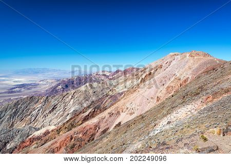 Rugged landscape and beautiful blue sky at Dantes View in Death Valley National Park