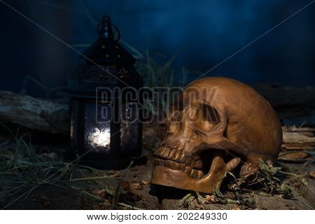Scary scene with a human skull and a burning lantern