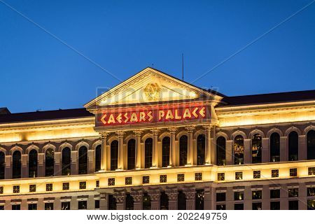 LAS VEGAS SEPTEMBER 17: View of the exterior of Caesars Palace in Las Vegas on September 17 2015