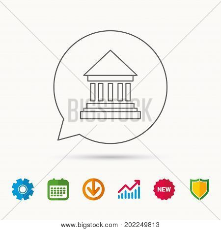 Bank icon. Court house sign. Money investment symbol. Calendar, Graph chart and Cogwheel signs. Download and Shield web icons. Vector