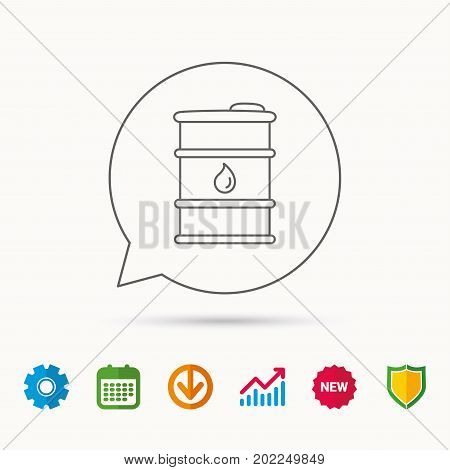 Barrel of oil icon. Cask with water drop sign. Fuel symbol. Calendar, Graph chart and Cogwheel signs. Download and Shield web icons. Vector