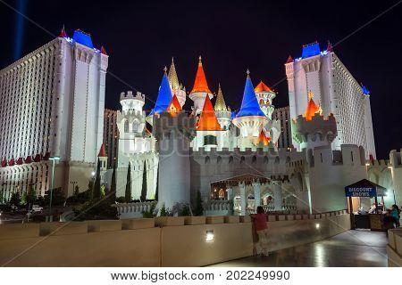 LAS VEGAS SEPTEMBER 17: Night time view of Excalibur hotel and casino in Las Vegas on September 17 2015
