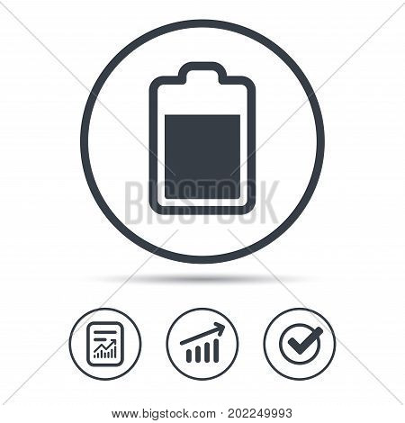 Battery power icon. Charging accumulator symbol. Report document, Graph chart and Check signs. Circle web buttons. Vector