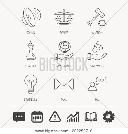 Strategy, auction and scales of justice icons. Save planet, water and lamp lightbulb linear signs. Faq and law hammer flat line icons. Education book, Graph chart and Chat signs. Vector
