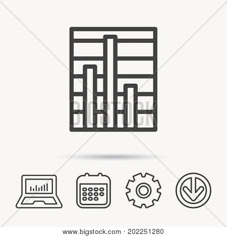Chart icon. Graph diagram sign. Demand reduction symbol. Notebook, Calendar and Cogwheel signs. Download arrow web icon. Vector