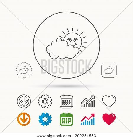 Cloudy day with sun icon. Overcast weather sign. Meteorology symbol. Calendar, Graph chart and Cogwheel signs. Download and Heart love linear web icons. Vector