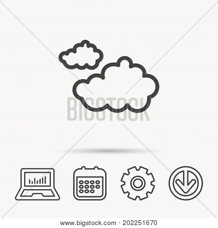 Cloudy icon. Overcast weather sign. Meteorology symbol. Notebook, Calendar and Cogwheel signs. Download arrow web icon. Vector