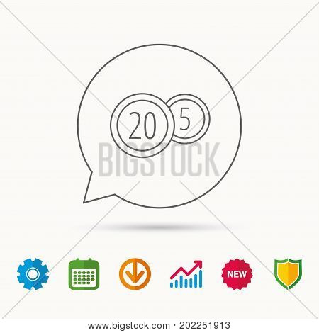 Coins icon. Cash money sign. Bank finance symbol. Twenty and five cents. Calendar, Graph chart and Cogwheel signs. Download and Shield web icons. Vector